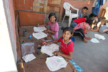 Art class at the Happiness Orphanage in Nepal.