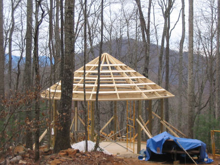 Roof is beginning to take shape.