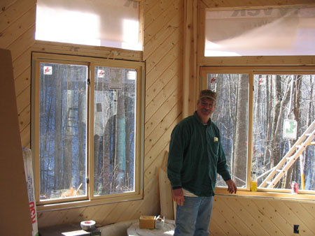 Builder George Mathis finished putting windows in. He is doing a great job.