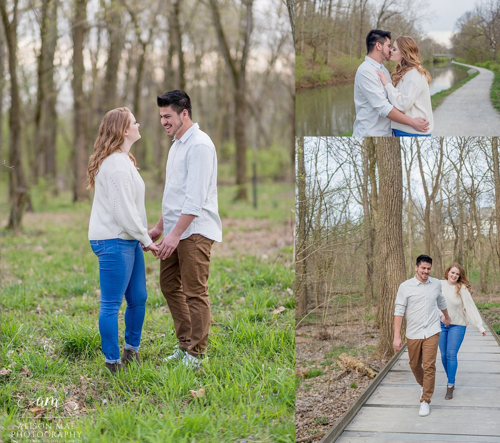 Couple sharing a laugh during their engagement session at Newfields in Indianapolis Indiana