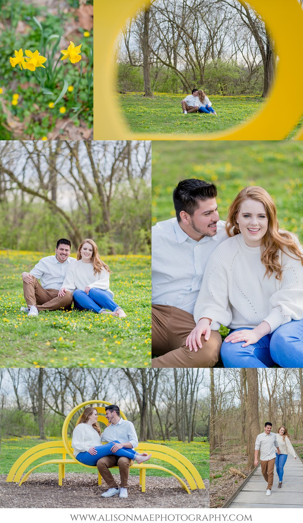 Indianapolis Wedding Photographer | Indianapolis Engagement Photography | Newfields | Indianapolis, Indiana | Yellow Flowers