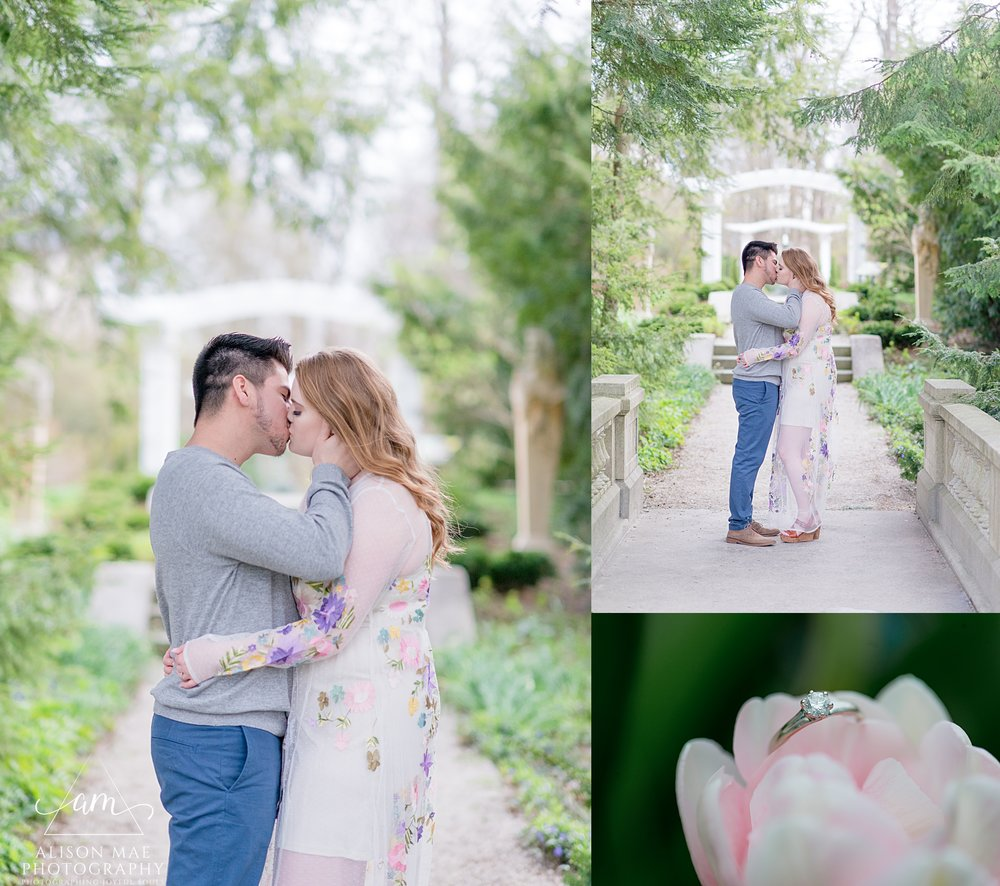 Engaged couple share a kiss at Newfields in Indianapolis during their engagement session with Indianapolis wedding photographer Alison Mae Photography