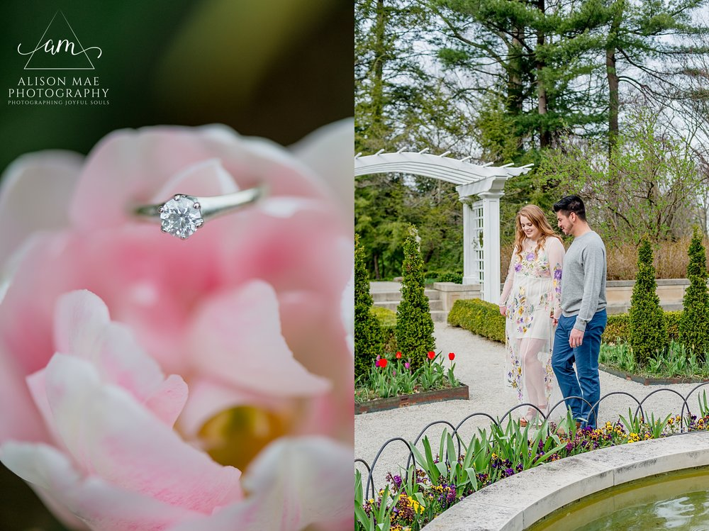 Engagement ring in flower during spring engagement session at Newfields in Indianapolis, Indiana