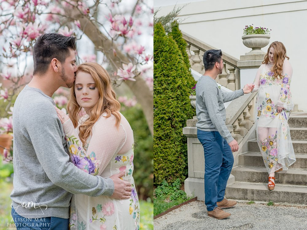 Engaged couples snuggles under magnolia tree during their engagement session at Newfields in Indianapolis, Indiana