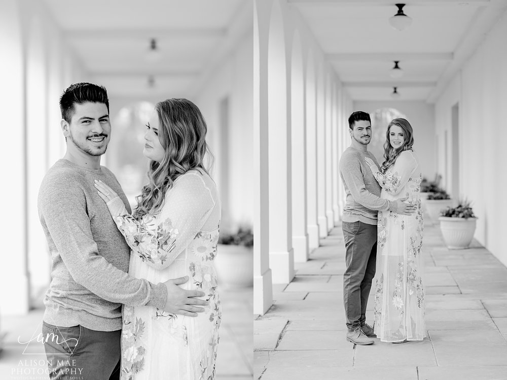 Black and white portraits of engaged couple at Newfields in Indianapolis, Indiana