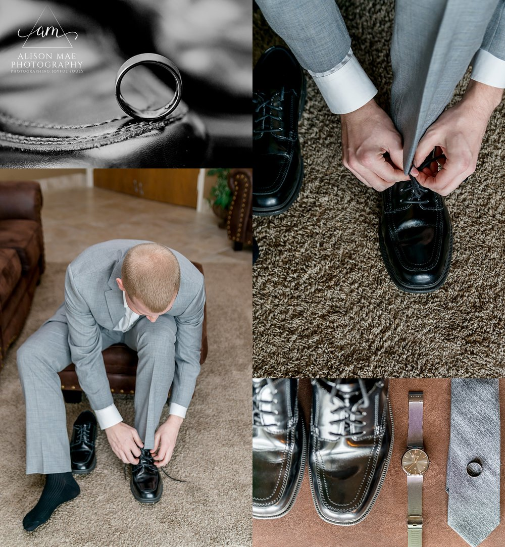 Groom getting ready for his wedding day - Indiana Wedding Photographer Alison Mae Photography