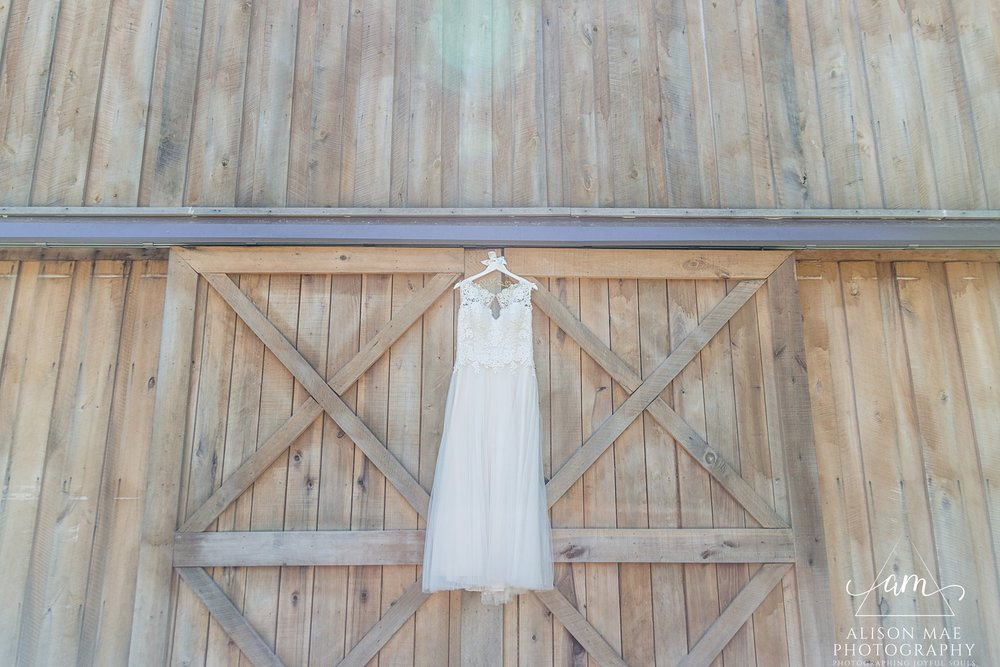 Wedding dress at The Barn at Hawks Point in Anderson, Indiana