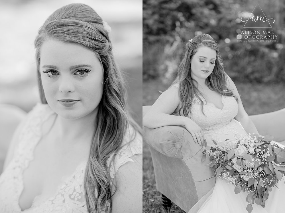 Elegant bridal portraits in black and white by Indianapolis wedding photographer Alison Mae Photography