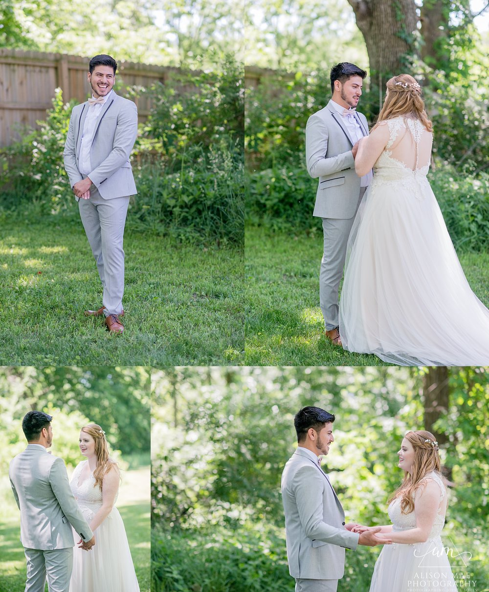 Bride and groom during first look | summer wedding in Indiana