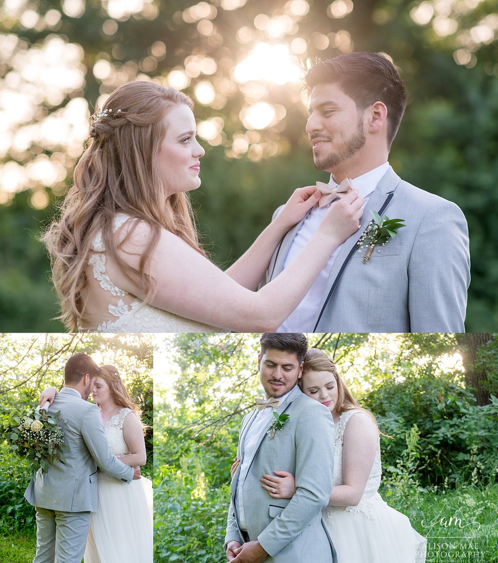 Bride and groom on wedding day - taken by Indiana wedding photographer - Alison Mae Photography