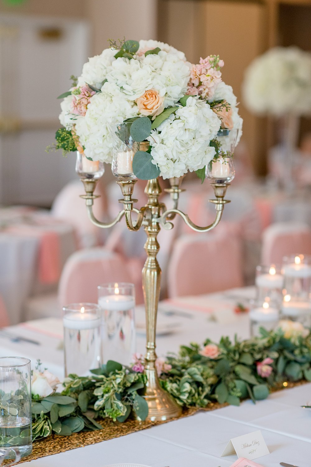 Hillcrest Country Club Wedding  | Indiana Wedding Venues | White and Coral Wedding Centerpieces | Table Decor