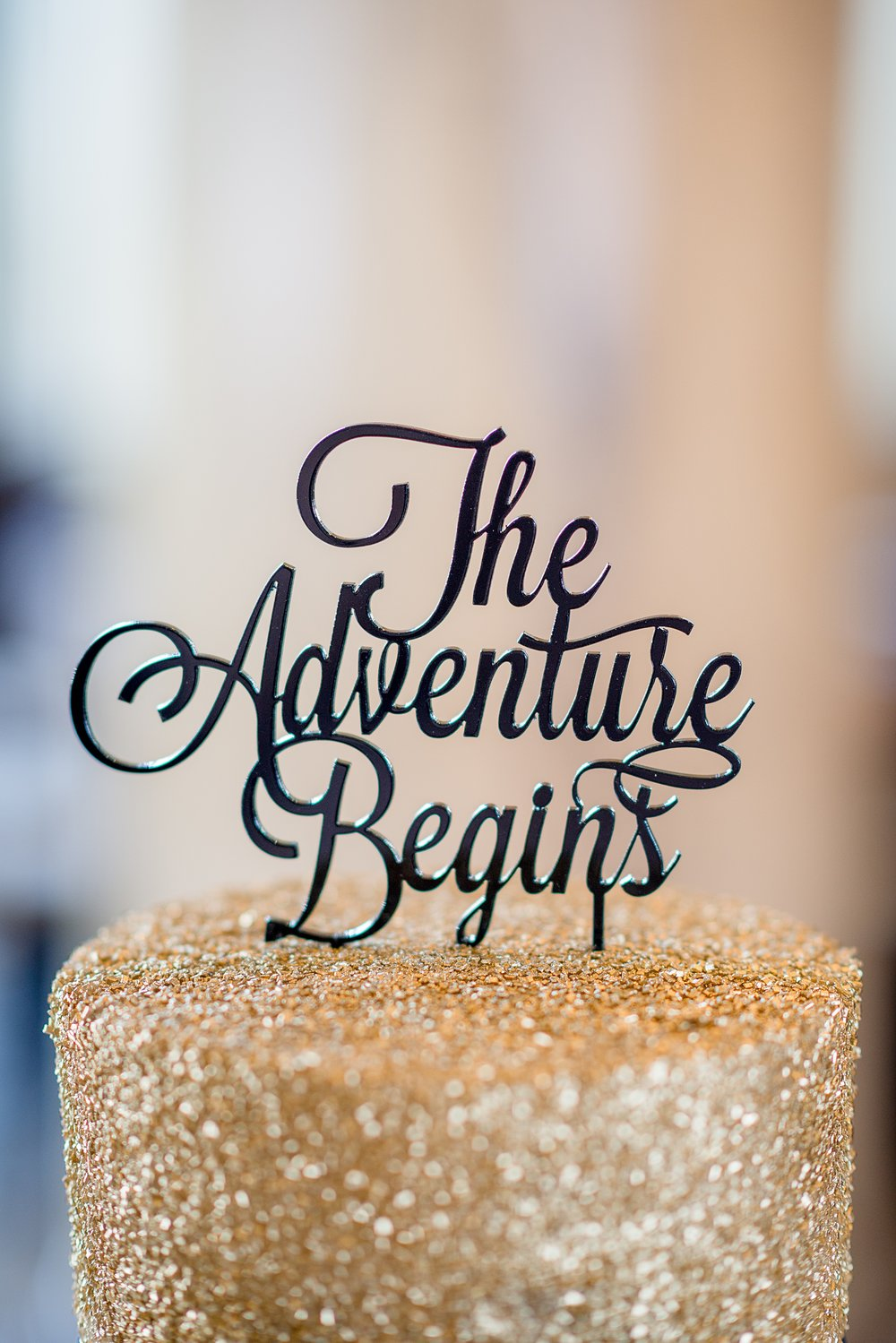 Pipers at the Marott Wedding | Indianapolis Wedding Venue | Indiana Wedding Venue | The Adventure Begins Cake Topper | Glitter Gold Cake