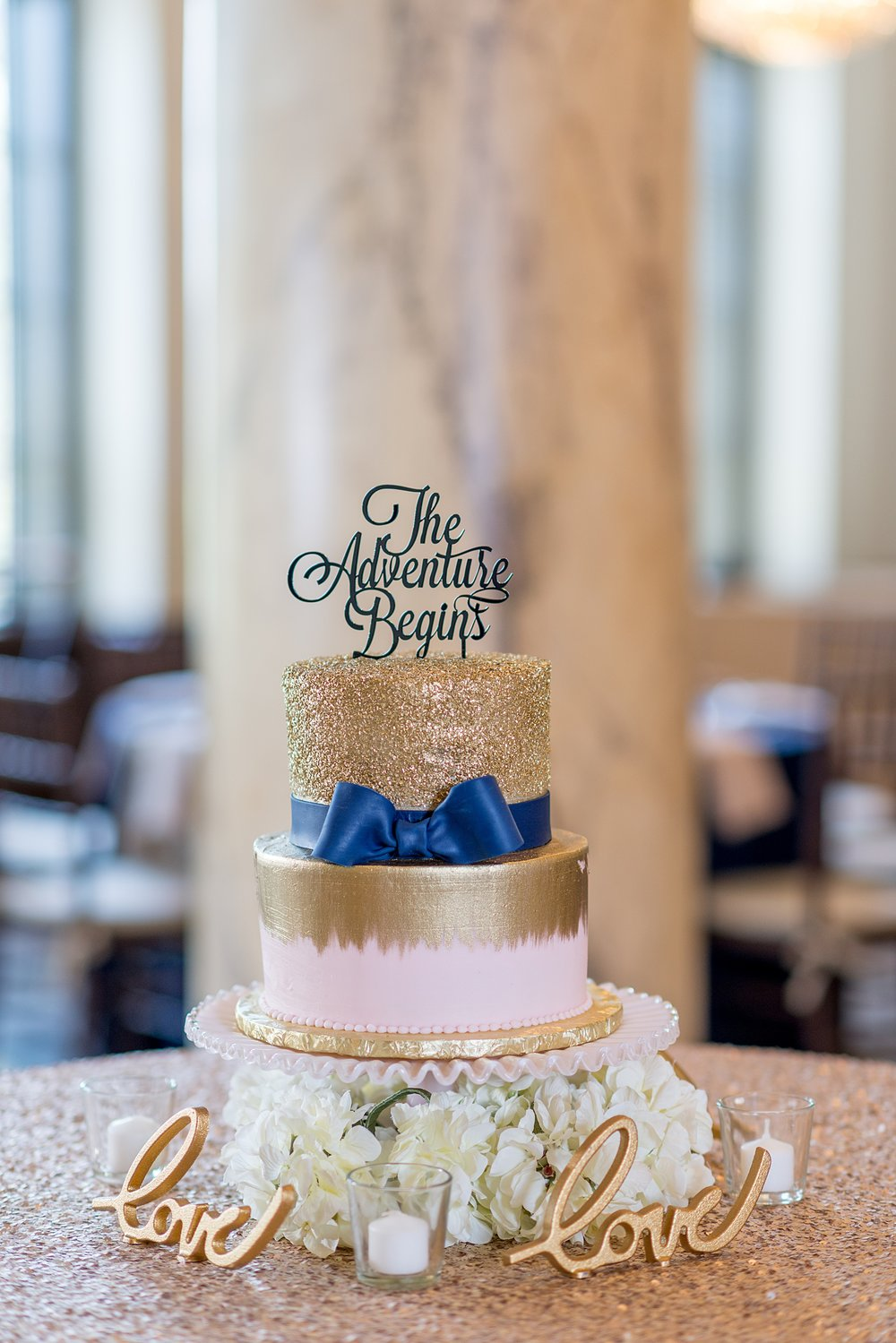 Pipers at the Marott Wedding | Indianapolis Wedding Venue | Indiana Wedding Venue | Navy and Gold Wedding Cake