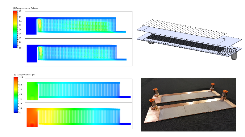 Example of the design simulation and fabrication of liquid cold plates for a power electronics customer