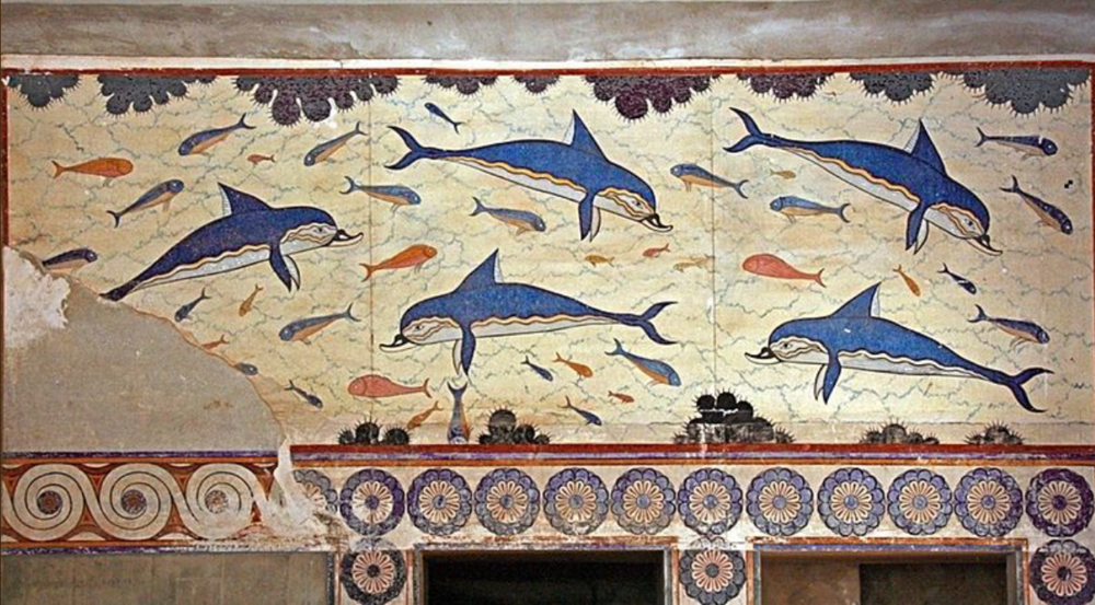 Dolphins (partially reconstructed by Arthur Evans, Palace of Knossus, Crete (ca. 1500 BC)