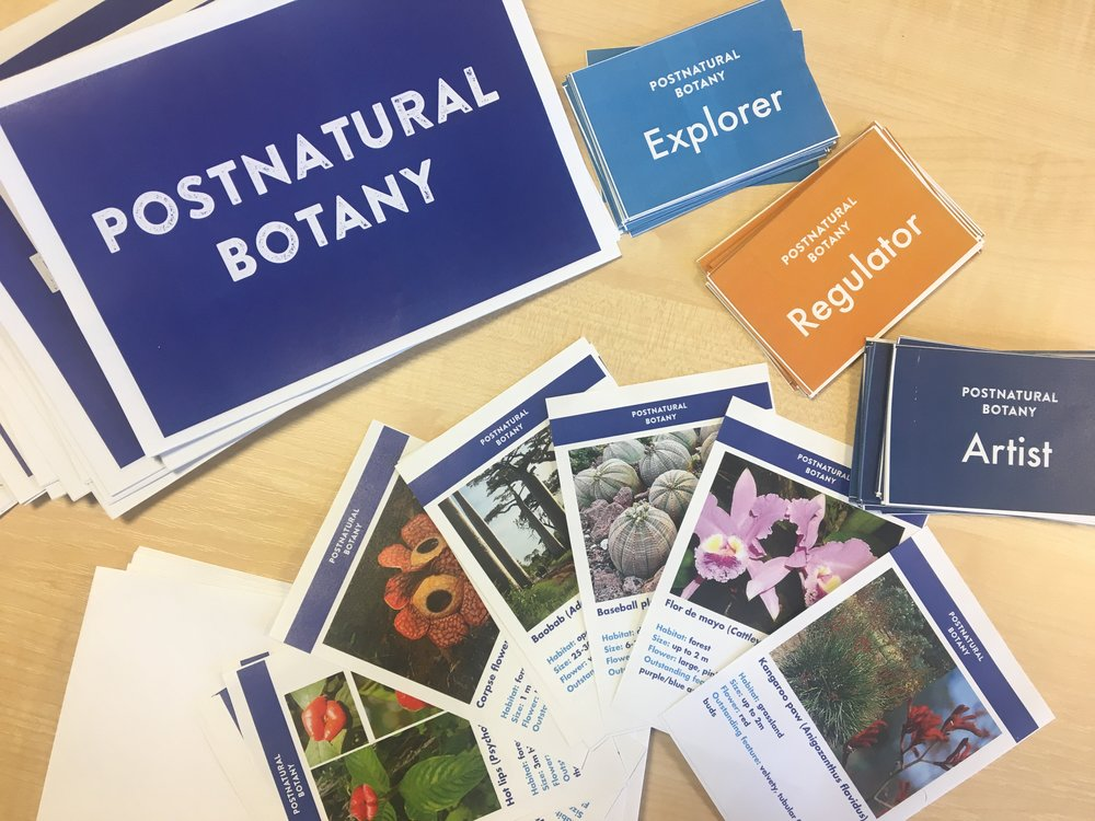 """Postnatural Botany"" rules booklet, plant discovery cards, and role-playing cars for ""Explorer"", ""Regulator"" amd ""Artist"". A collaborative effort between Karen Ingram and Nicola Patron for the 4th annual OpenPlant Forum. Photo: Karen Ingram"