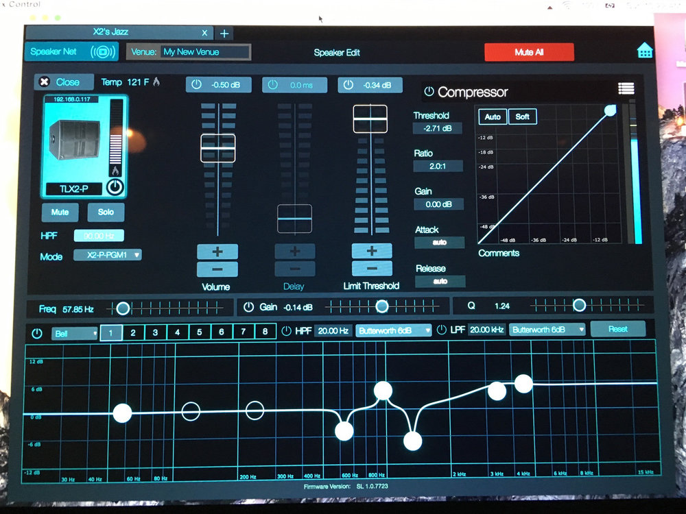 Presonus Software used to control Worx Audio X2 line array speaker processing