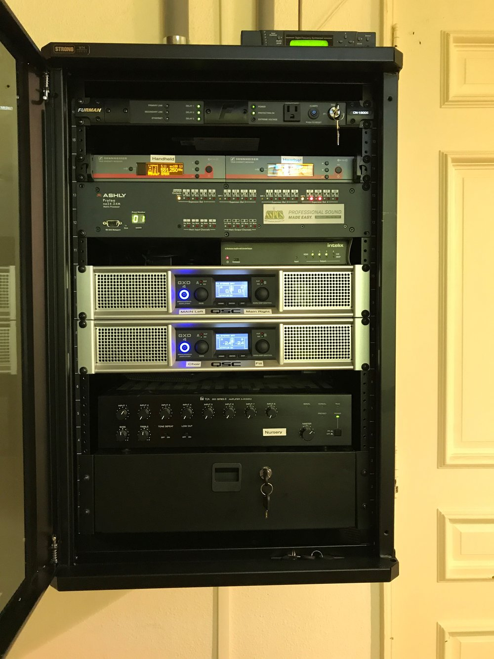Main A/V Rack with Ashley Processor and Video distribution all controlled by a wall control in the room.