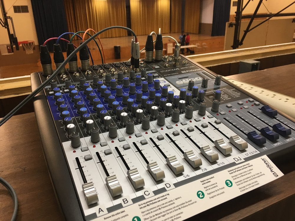 Analog mixer connected to processor, for use with a DJ, and Choir Microphones