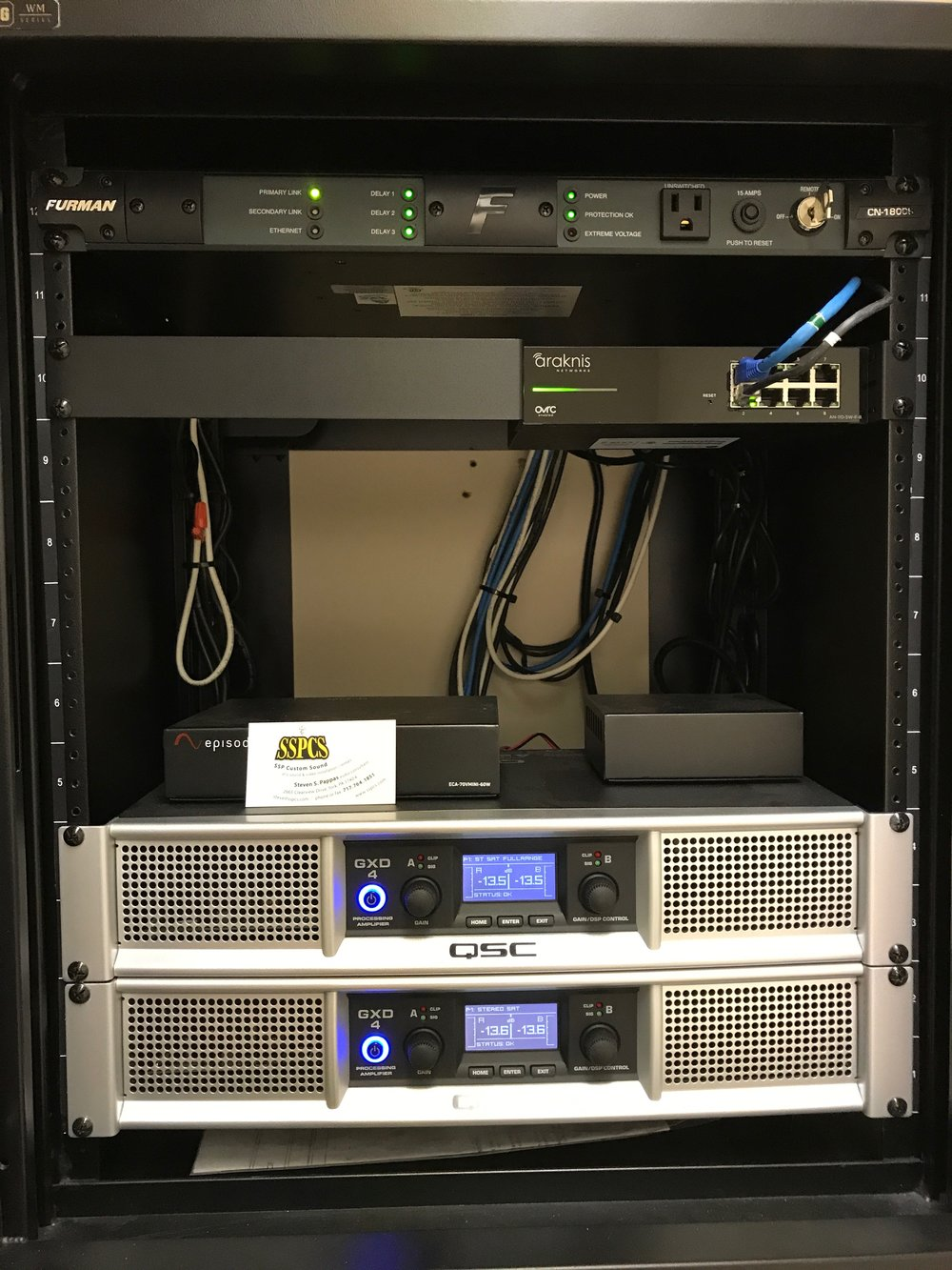Main Amp rack with audio and video distribution switch with remote on-off from sound booth.
