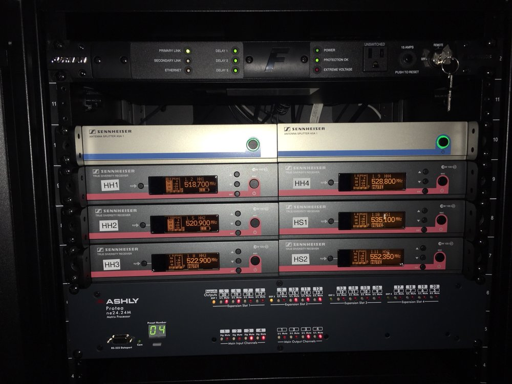 Amp rack with Ashley processor to control day to day functions with wall control for simple use.