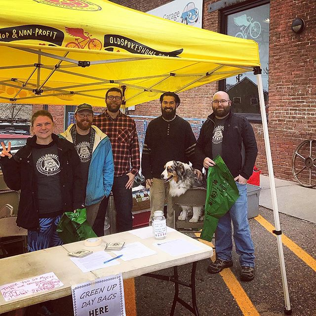 We are up and running for #greenupdayvt2019! Come snag some bags and help us cleanup the #ONEbtv.  BBQ and @fullbarrelcoop samples @oldspokeshome for all volunteers afterwards (12-2). Big shout out to our event sponsors: @oldspokeshome and @citymarketcoop