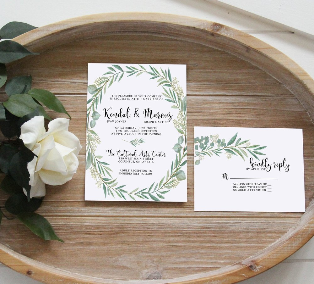 Custom Wedding Invitations. Greenery wedding invitations. Rustic wedding invitations. Simple wedding invitations.