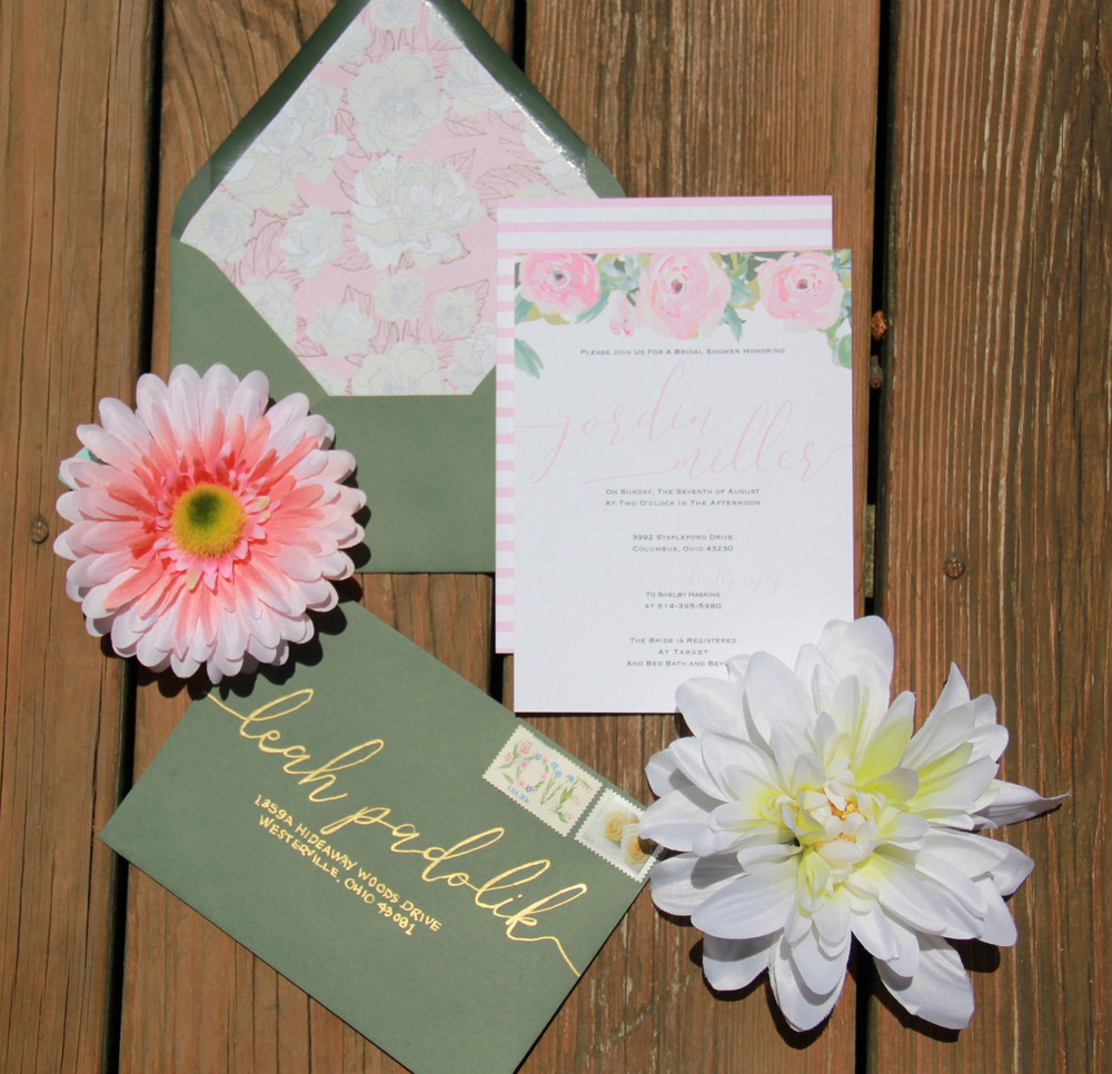 Custom Wedding Invitations. Floral wedding invitations. Greenery wedding. Neutral wedding invitations