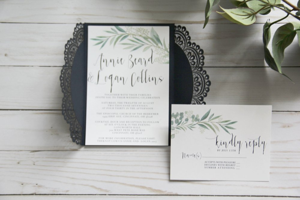 Custom Wedding Invitations. Simple Invitations. Greenery wedding invitations. Modern invitations. Navy and greenery wedding invitations.