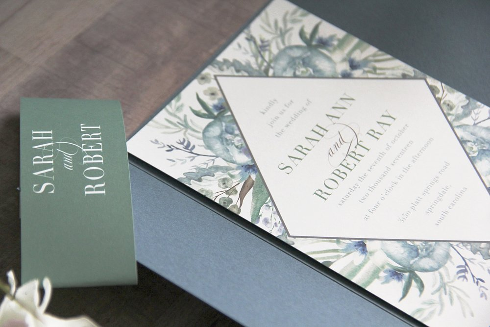 Custom Wedding Invitations. Dusty blue invitation. Dusty blue floral wedding invitation. Slate blue wedding invitation