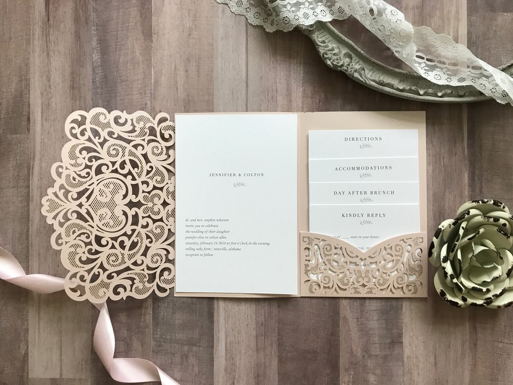 Custom Wedding Invitations. Elegant invitations. Simple invitations. Laser cut pocket folds.