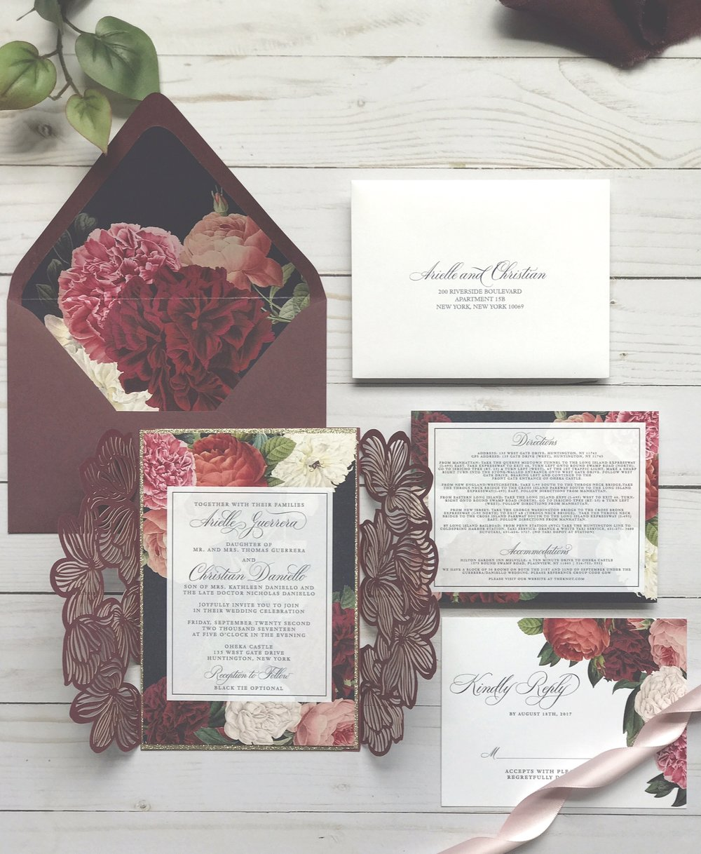 Custom Wedding Invitations. Floral wedding invitations. Marsala and Navy invitations. Merlot and navy floral invitations