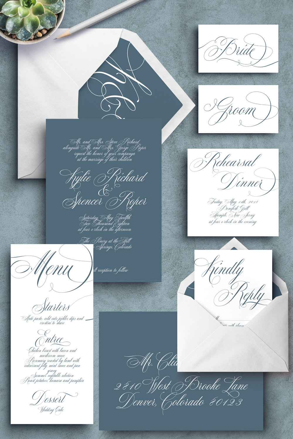 Custom Wedding Invitations. Elegant Wedding Invitations. Classic wedding Invitations. Elegant wedding invitations. Slate blue invitations