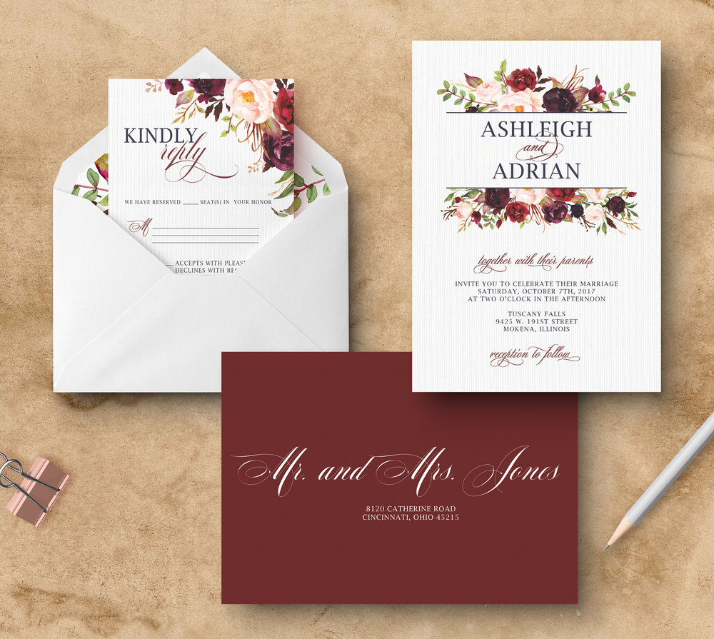 Custom Wedding Invitations. Marsala floral wedding invitations. Maroon invitations. Floral invitations. Merlot and blush invitations