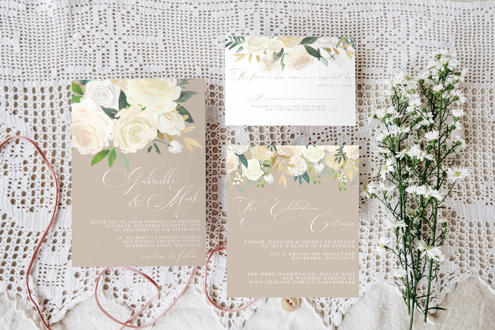 Custom Wedding Invitations. Neutral wedding invitations. Neutral floral invitations.