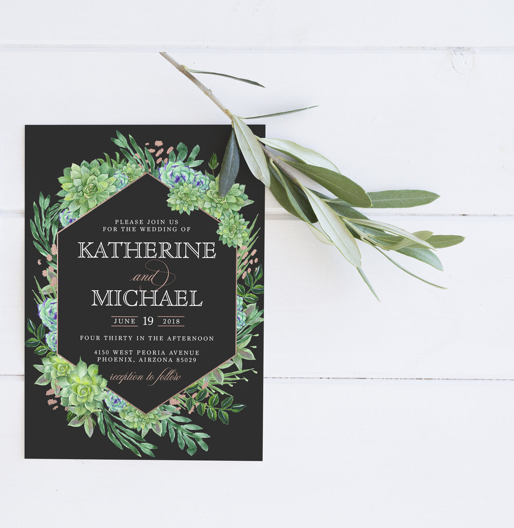 Custom Wedding Invitations. Modern wedding invitations. Greenery weddings