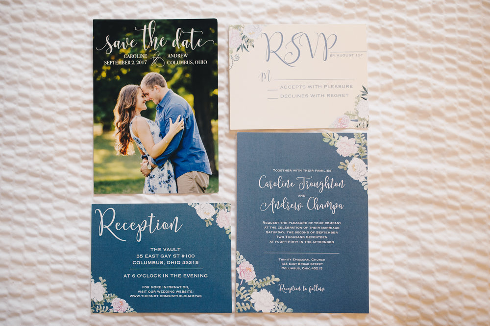 Custom Wedding Invitations. Save the Dates. Slate Blue Wedding Invitation. Dusty Blue Invitation. Blue Floral Invitation.