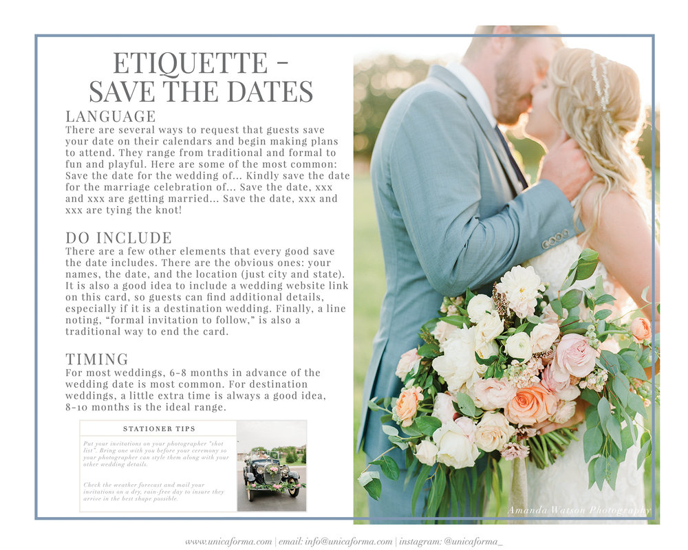 Wedding Invitation Etiquette Guide Unica Forma – Save the Date Wedding Etiquette