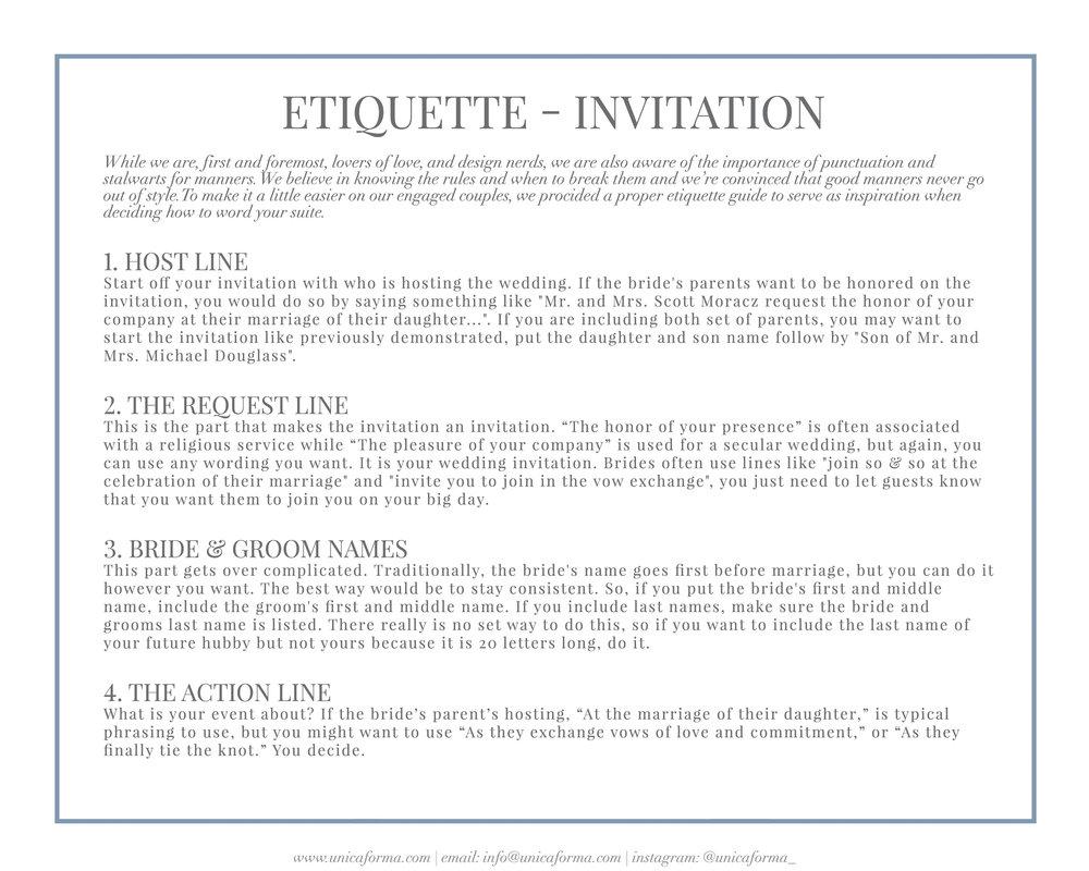 Wedding Invitation Etiquette GuideUnica Forma
