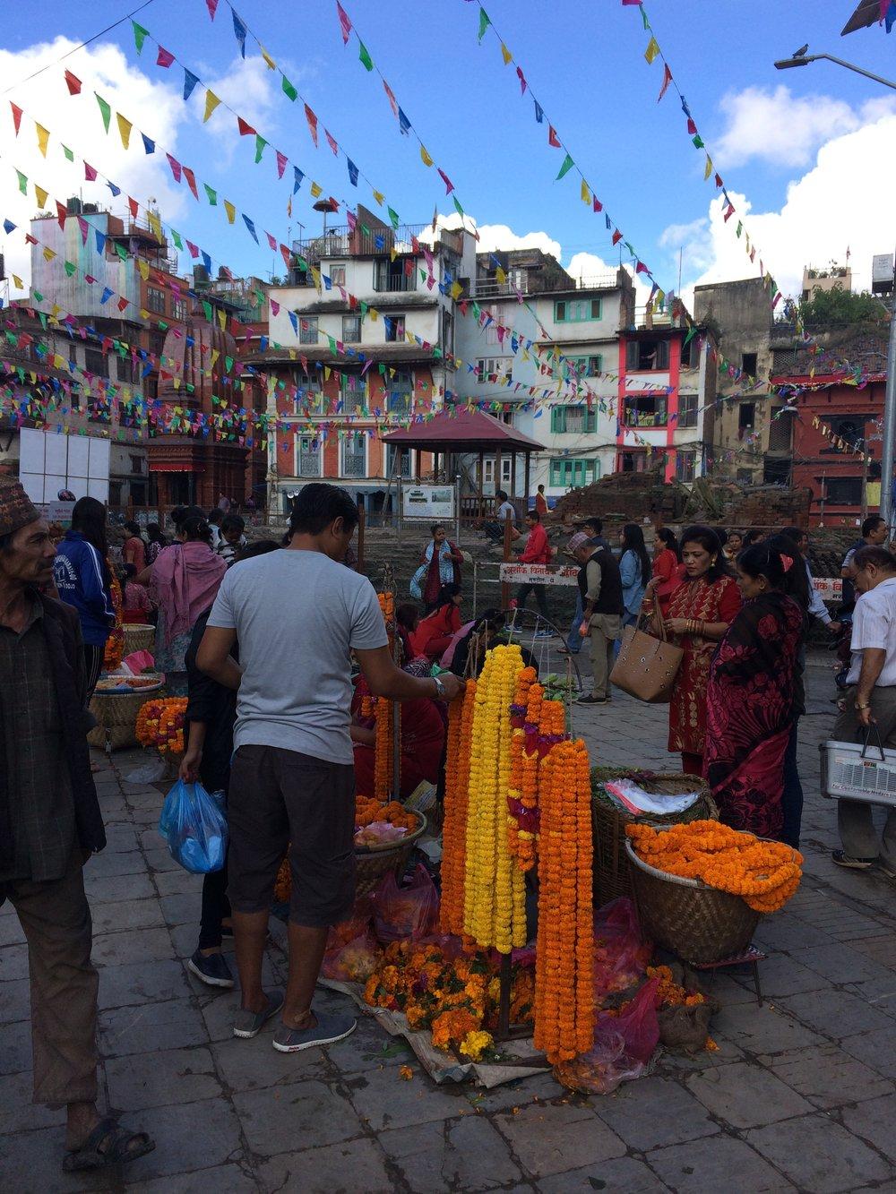 Festivities and marigold necklaces in Kathmandu Durbar Square for Dashain