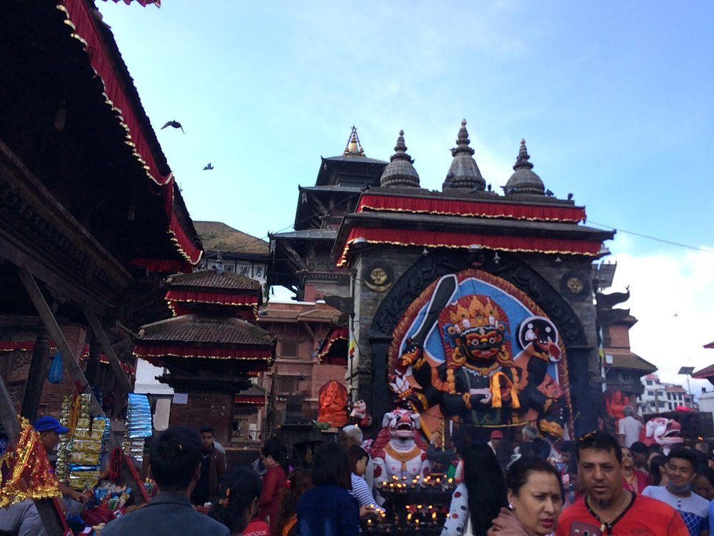 Freshly painted temple in Kathmandu Durbar Square
