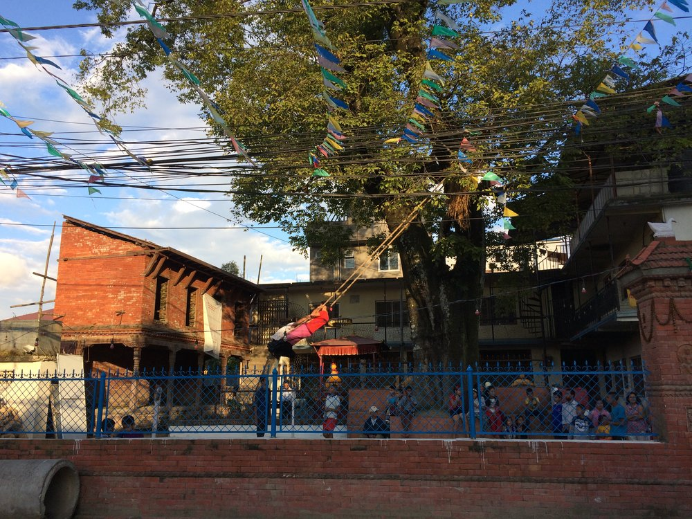 Part of Dashain is putting up these bamboo swings, called Linge Ping, everywhere. People young and old swing on them. This one is outside a temple in Jhamsikhel in Lalitpur near Patan