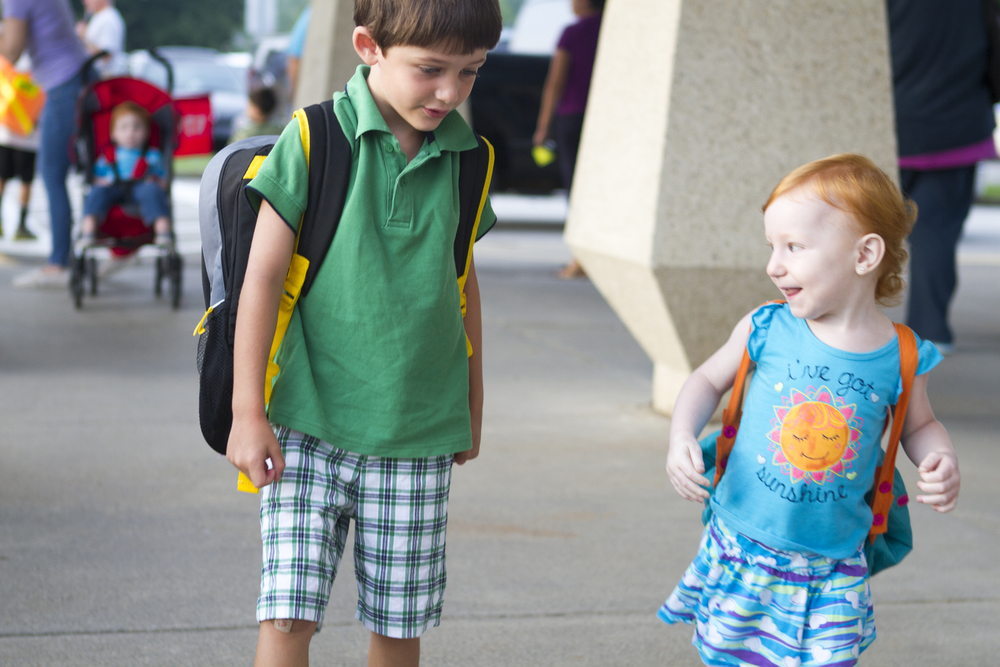 siblings on first day of school