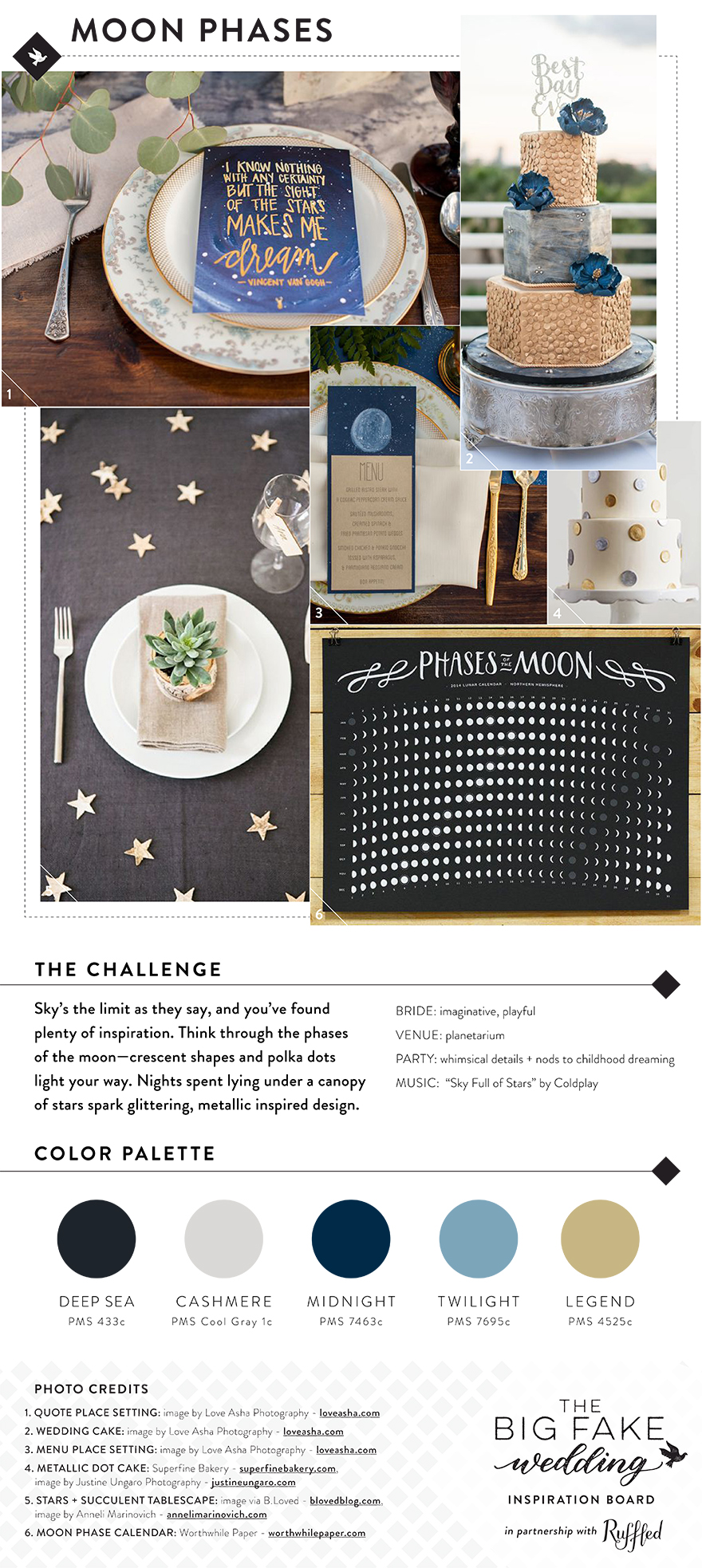 moon phases wedding inspiration board