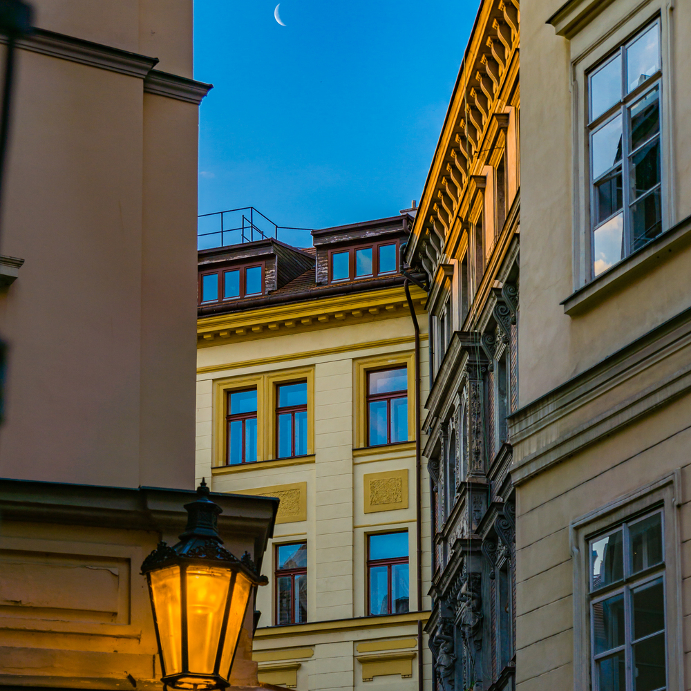 Sliver of the Moon at Sunrise. Prague 2016.