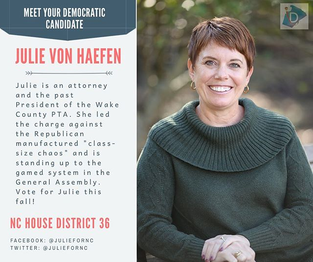 ‪Get to know Julie von Haefen ➡️ as the past president of the Wake County PTA, she fiercely advocates for a better education system for all. Vote for her this November ‬