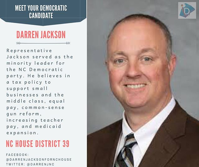 Get to know the Democratic Majority Leader Darren Jackson ➡️ He will be on your ballot this fall if you live in House District 39!  #ncpol #turnncblue #wcpol #getoutthevote #earlyvoting