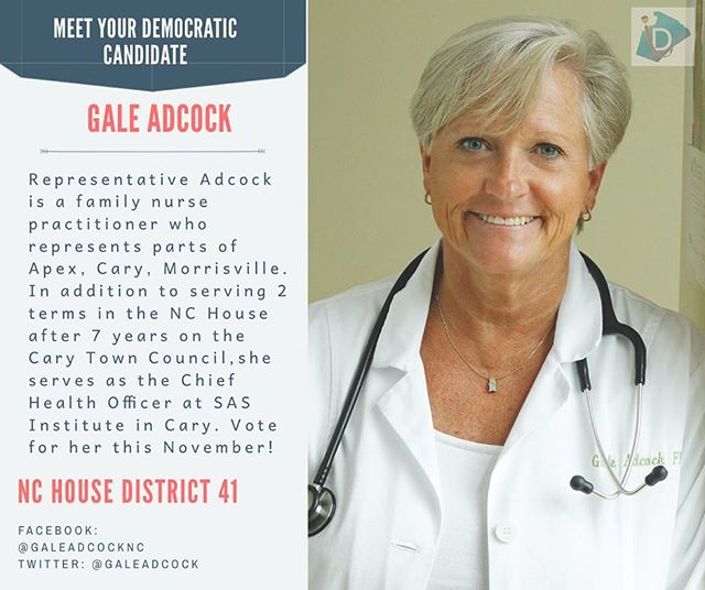 Meet Representative Gale Adcock➡️ As a registered nurse practitioner, she is supportive of women's reproductive rights, expansion of healthcare accessibility, and sustainable environmental policy.  #ncpol #turnncblue #wcpol #getoutthevote #earlyvoting