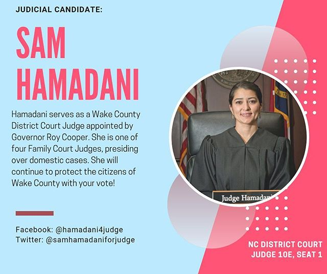 Do you know your judicial candidates? Stick around this week to get to know them! This is Sam Hamadani ➡️ an Irani-American Wake County judge who serves as an expert in family law running this fall.  #wakepol #ncpol #turnncblue #bluewave #getoutthevote #earlyvoting
