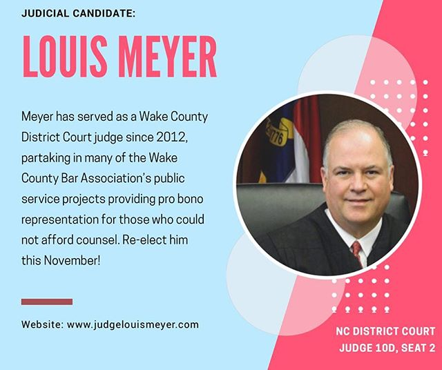 Do you know your judicial candidates? Stick around this week to get to know them! This is Louis Meyer ➡️ a Wake County judge who believes in service!  #wakepol #ncpol #turnncblue #bluewave #getoutthevote #earlyvoting